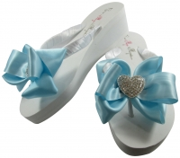 Bridal Flip Flops with Rhinestone Heart & Satin Bows- Choose the colors & heel height! H6