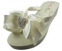 Bridal Flip Flops with Rhinestone Heart & Satin Bows- Choose the colors & heel height! H9