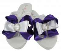 Purple Infinity Circle Wedding Flip Flops- Many Color Bows BRIC12