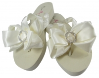 Ivory Wedge Heel Infinity Bling Flip Flops with Satin Bows