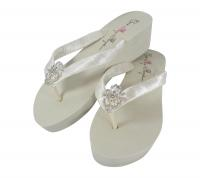 Ivory Wedge Vintage Lace Bridal Bridesmaid Flip Flops