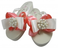 Pearl Bling Wedding Flip Flops - Coral/Many Colors