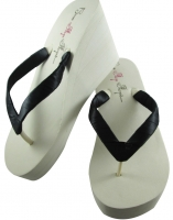 Black Satin White or Ivory Wedge Flip Flops