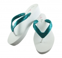 Jade Satin Wedge Flip Flops