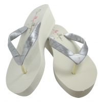 Gray Satin Bridesmaid or Bride Flip Flops with Wedge Heel - choose height