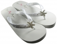 Starfish Flip Flops in White or Ivory Wedge or Flat Heel and Rhinestone Accent Straps