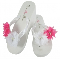 Hot Pink Tulle Flower Flip Flops