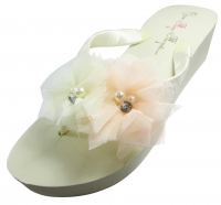 Light Coral & Ivory Tulle Flower Wedding Flip Flops/ Many colors