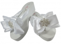 Bridal Flip Flops with Vintage Flower Bows