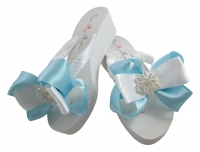 Light Blue Satin Vintage Flower Bow Flip Flops