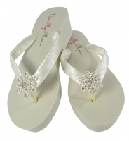 Vintage Flower Ivory Wedding Flip Flops