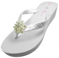 Bridal Flip Flops with Vintage Flower & Swarovski Accent Straps VF5