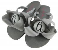 Gray and Black Flip Flops with Glitter Initial