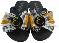 Glitter Cheer Bow Flip Flops - Black/ Gold - Choose Colors Cheer12