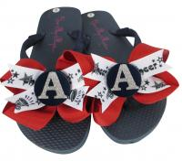 Red & Navy with Silver Glitter Initial Cheer Bow Flip Flops