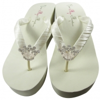 Ivory Wedge Princess Crown Flip Flops