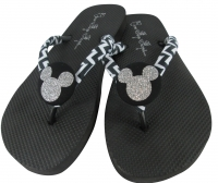 Chevron Disney Flip Flops with Glitter Mickey Mouse