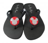 Red and Silver Bling Mickey Disney Flip Flops
