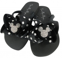 Black polka dot silver disney flip flops bling