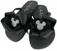 Solid black / Silver Glitter or any color Disney Bow Flip Flops