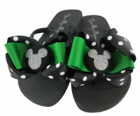 Emerald Green and Silver Glitter Disney Bow Flip Flops