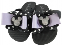 Lavender and Silver Glitter Disney Bow Flip Flops-