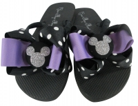 Orchid and Silver Glitter Disney Bow Flip Flops