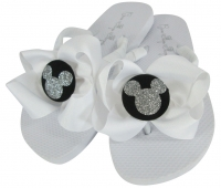 White with Black/ Silver Glitter Disney Bow Flip Flops
