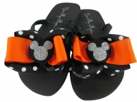 Orange and Silver Glitter Disney Bow Flip Flops