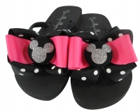 Hot Pink Disney Glitter Bow Flip Flops with Mickey Mouse