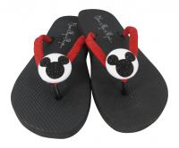Red, Black & White Glitter Mickey Mouse Flip Flops