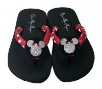 Minnie Mouse Glitter Button Flip Flops