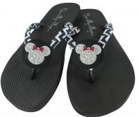 Chevron Glitter Minnie Mouse Disney Flip Flops