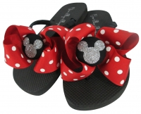 Disney Flip Flops with Red white Polka dot bows & silver glitter mickey mouse