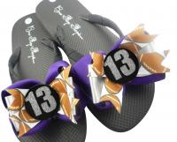 Glitter Number Football Bow Flip Flops