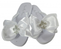 White Flat or Ivory Wedge Fleur de Lis Bow FLip Flops