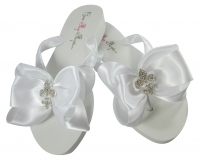 Design your own Fleur de Lis Rhinestone Bow Flip Flops
