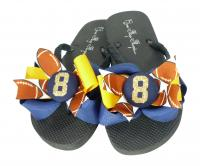 Navy Gold Glitter Number Football Bow Flip Flops