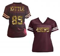 Kittle 49ers or Customized Glitter V-Neck Ladies Jersey Shirt