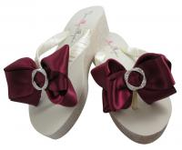 Glitter Bow Wedges with Rhinestone Embellishment, Customized Colors