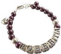 Burgundy Pearl Heart Charm Name Girl/Baby Customizable Bracelet