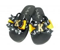 Customizable Gymnastics Glitter Bow Flip Flops
