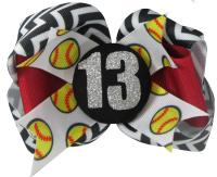 Softball Glitter Player Hair Bow- Ribbon Clip in Team Colors