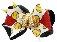 Black & Red Softball Rhinestone Hair Bow Clip