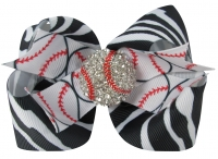 Zebra Baseball Bling Hair Bow Clip for Girls