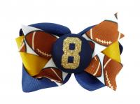 Football Glitter Hair Bow
