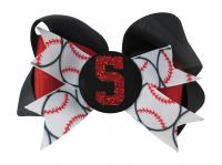 Black & Red Baseball Hair Bow