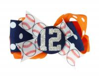 Baseball Number Glitter Hair Bow -navy/orange or match team colors