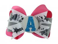 Hot Pink & Turquoise Cheer Glitter Hair Bow