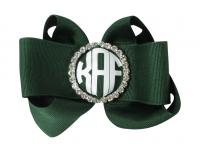 Green or choose ribbon color for monogram rhinestone embellishment bow